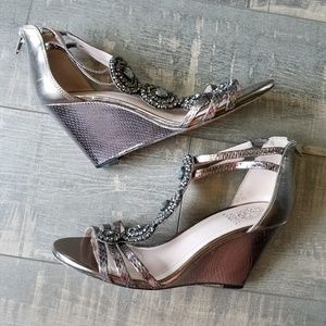 Vince Camuto Zimily Bronze Wedge Sandals Shoes